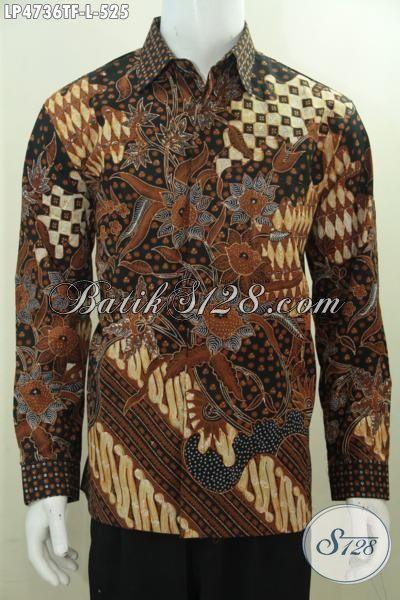 Hem Batik Premium Motif Klasik Daleman Full Furing, Baju Batik Mewah Tulis Tangan Asli Buat Lelaki Dewasa Tampil Elegan Bak Pejabat, Model Lengan Panjang Size L