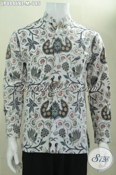 Baju Batik Kombinasi Tulis Lengan Panjang Model Kerah Shanghai, Busana Batik Masa Kini Motif Berkelas Tampil Gagah Dan Berwibawa, Size M