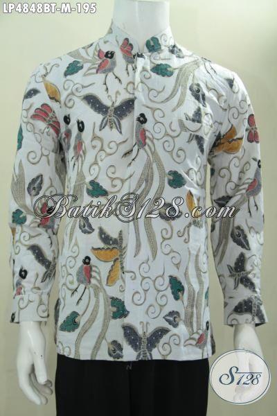 Baju Koko Batik Motif Kupu Model Lengan Panjang, Kemeja Kerah Shanghai Halus Kwalitas Halus Proses Kombinasi Tulis Cocok Buat Lelaki Muda Tampil Beda, Size M