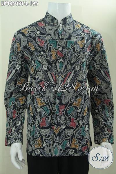 Hem Batik Klasik Warna Bagus Banget, Busana Batik Muslim Lengan Panjang Kerah Shanghai Proses Kombinasi Tulis, Size L