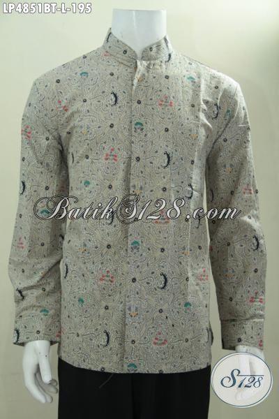 Jual Produk Kemeja Koko Motif Terbaru Proses Kombinasi Tulis, Baju Kerja Batik Kerah Shanghai Modis Keren Dan Elegan, Size L