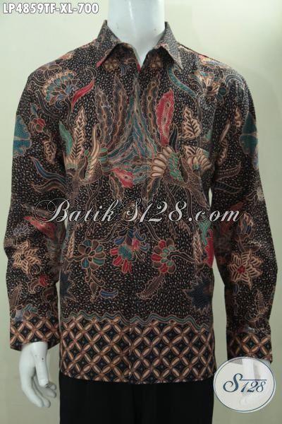 Toko Baju Batik Premium Khas Solo, Sedia Kemeja Batik Klasik Lengan Panjang Pake Furing Mewah Dengan Bahan Halus Proses Tulis Tangan Asli Kwalitas Istimewa, Size XL