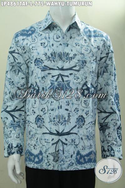 Busana Batik Solo Wahyu Tumurun Warna Cerah Desain Berkelas Proses Tulis Warna Alam, Baju Batik Premium Lengan Panjang Daleman Furing Pas Buat Rapat, Size L