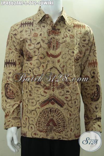 Hem Batik Klasik Motif Cuwiri, Kemeja Lengan Panjang Pake Furing Berbahan Batik Tulis Warna Alam Yang Halus Desain Mewah Lelaki Terlihat Makin Berwibawa, Size L