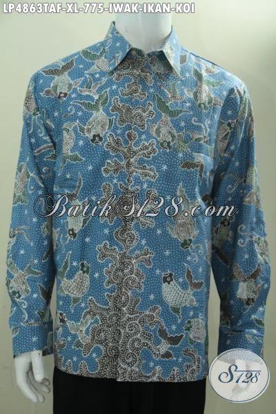 Kemeja Kerja Bahan Batik Tulis Pewarna Alam Motif Mewah Halus Dan Adem, Baju Batik Premium Motif Ikan Koi Lengan Panjang Pake Furing Tampil Gagah Mempesona, Size XL