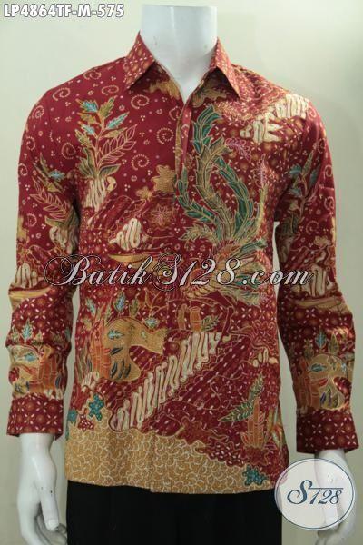 Batik Lengan Panjang Pria Warna Merah Motif Bagus Daleman Full Furing Proses Tulis Tangan Asli, Size M Cocok Banget Buat Seragam Kerja Dan Baju Rapat