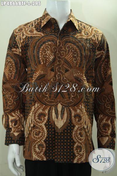 Hem Lengan Panjang Berbahan Batik Halus Proses Kombinasi Tulis, Pakaian Batik Solo Motif Klasik Daleman Full Furing Membuat Pria Lebih Gagah Dan Berkarakter [LP4866BTF-L]