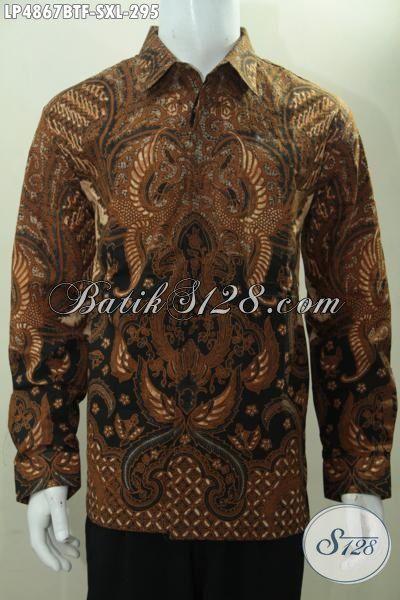 Kemeja Batik Klasik Kwalitas Premium Harga Terjangkau, Baju Batik Formal Buat Pria Muda Dan Dewasa Pake Furing Cocok Buat Rapat, Proses Kombinasi Tulis [LP4867BTF-XL]