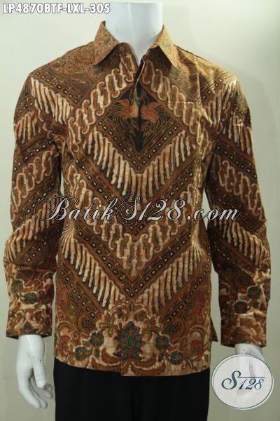 Kemeja Batik Cowok Terbaru Kwalitas Bagus Berbahan Halus Motif Klasik, Batik Solo Kombinasi Tulis Desain Berkelas Pria Tampil Menawan, Size L – XL