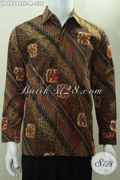 Agen Baju Batik Solo Online, Sedia Busana Batik Klasik Parang Bunga, Bahan Halus Batik Cap Tulis Model Lengan Panjang Full Furing Untuk Acara Formal, Size M