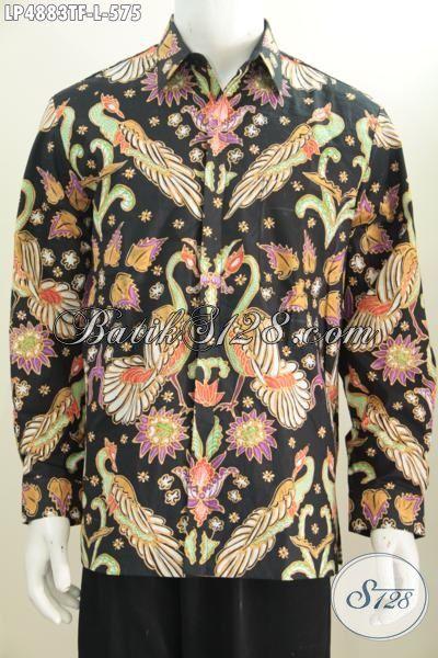 Jual Online Hem Lengan Panjang Mewah Buatan Solo Motif Bagus Proses Tulis, Baju Batik Full Furing Premium Bikin Pria Telihat Mempesona, Size L