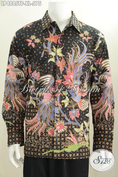 Produk Busana Batik Premium Lengan Panjang Buatan Solo, Baju Batik Lengan Panjang Terbaru Motif Mewah Daleman Full Furing Buat Lelaki Dewasa Tampil Beda, Size XL