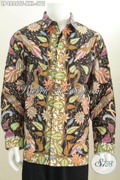 Pakaian Batik Pria Gemuk Desain Istimewa Dengan Motif Berkelas Proses Tulis Tangan, Baju Batik Jumbo Full Furing Buat Acara Resmi Keren Di Pakai Setiap Hari [LP4886TF-XXL]