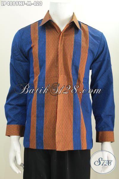 Baju Tenun Terbaru Warna Biru Aksesn Garis Coklat Kesan Mewah, Busana Lengan Panjang Full Furing Buat Pria Muda Tampil Gagah Mempesona, Size M