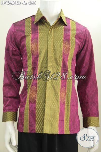 Baju Tenun Istimewa Kwalitas Premium, Kemeja Tenun Modis Warna Berkelas Model Lengan Panjang Daleman Pake Furing Lebih Mewah, Size M