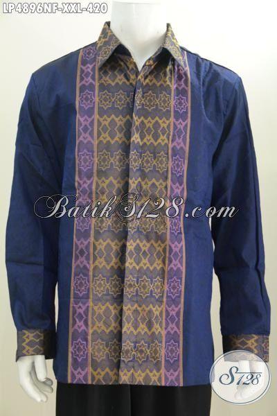 Baju Tenun 3L Lengan Panjang Full Furing Khas Jawa Tengah, Kemeja Tenun Motif Terbaru Cocok Buat Rapat Dan Acara Resmi Pria Gemuk Terlihat Makin Gagah, Size XXL