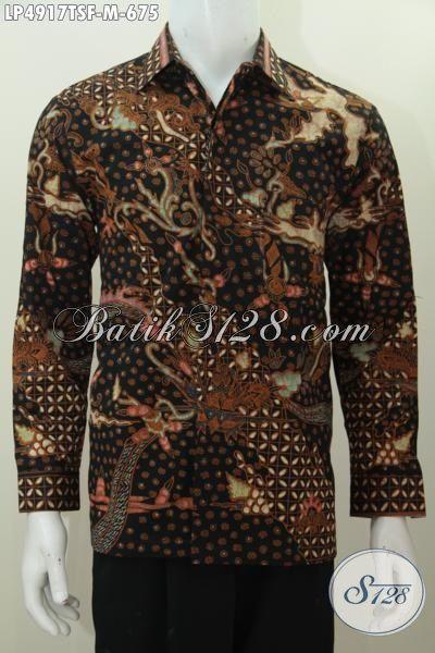 Jual Online Baju Batik Premium Buatan Solo, Pakaian Batik Full Furing Lengan Panjang Motif Mewah Berbahan Halus Tulis Soga Pria Tampil Lebih Istimewa, Size M
