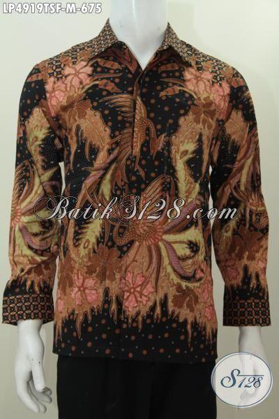 Kemeja Batik Premium Lengan Panjang Halus Full Furin, Busana Batik Lelaki Muda Proses Tulis Soga Tampil Lebih Gagah Motif Klasik, Size M