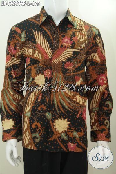 Hem Batik Mewah Lengan Panjang Pake Furing, Produk Busana Kerja Pria Executive Berbahan Halus Proses Tulis Warna Soga Premium [LP4923TFS-L]
