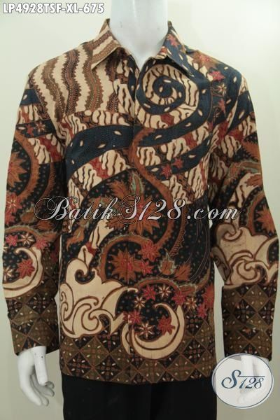 Baju Hem Mewah Desain Formal Motif Klasik, Busana Batik Solo Halus Tulis Soga Lengan Panjang Pake Furing Tampil Lebih Berkelas, Size XL