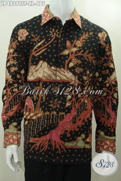 Kemeja Lengan Panjang Premium Buatan Solo, Baju Batik Full Furing Motif Klasik Proses Tulis Soga, Elegan Untuk Acara Formal Tampil Gagah, Size XL
