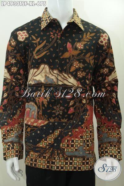 Jual Hem Batik Mewah Lengan Panjang, Baju Batik Pake Furing Istimewa Model Khas Pejabat Biki Cocok Makin Mempesona, Busana Batik Tulis Soga Halus Asli Dari Solo, Size XL