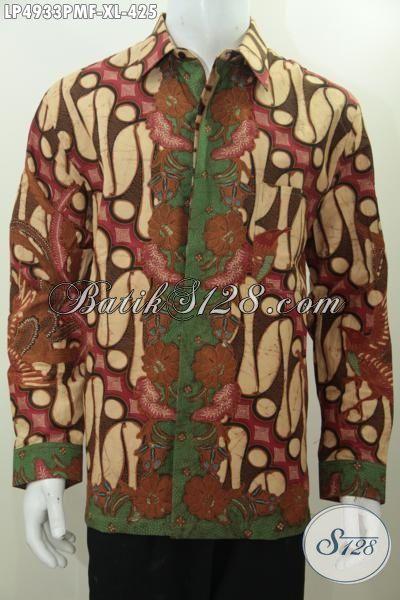 Kemeja Lengan Panjang Batik Motif Klasik, Batik Busana Pria Daleman Full Furing Berbahan Halus Proses Kombinasi Tulis Kwalitas Premium [LP4933PMF-XL]