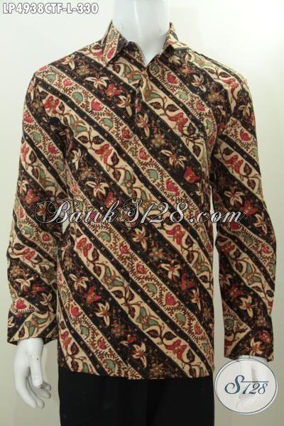 Baju Hem Batik Kwalitas Halus Model Lengan Panjang Pake Furing, Busana Batik Parang Bunga Cap Tulis Kwalitas Istimewa Tampil Makin Gaya, Size L