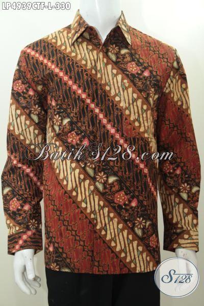 Baju Batik Bagus Model Lengan Panjang, Pakaian Batik Formal Cap Tulis Parang Bunga Daleman Full Furing Seperti Jas Kesan Mewah Dan Berkelas [LP4939CTF-L]