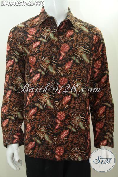 Baju Hem Batik Trendy Cap Tulis, Hadir Dengan Warna Elegan Nan Mewah, Busana Batik Lengan Panjang Pake Furing Pas Banget Untuk Kerja Dan Pesta [LP4940CTF-XL]