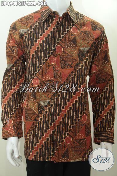 Kemeja Batik Klasik Motif Parang Halus Proses Cap Tulis, Baju Batik Formal Untuk Pria Gemuk Cocok Untuk Rapat Model Lengan Panjang Pake Furing, Size XXL