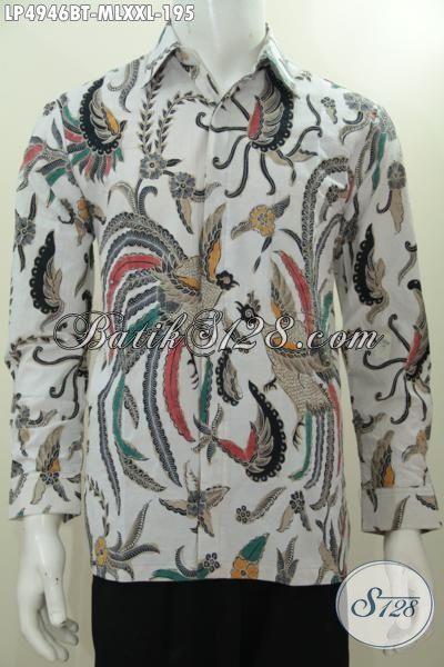 Busana Batik Seragam Kerja Pria Model Lengan Panjang, Baju Batik Kondangan Bahan Bagus Motif Elegan Proses kombinasi Tulis Tampil Lebih Tampan Maksimal, Size M – L
