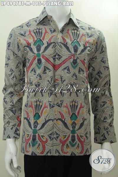 Produk Hem Batik Klasik Pisang Bali Asli Buatan Solo, Baju Batik Elegan Buat kondangan Serta Modis Untuk Seragam Kerja Proses Kombinasi Tulis, Size M