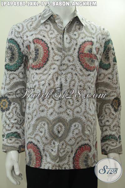 Baju Hem Batik Kombinasi Tulis Motif Babon Angkrem, Pakaian Batik Klasik Lengan Panjang Elegan Desain Formal Cocok Buat Rapat, Size L – XXL