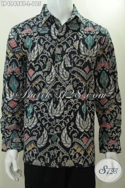 Baju Kemeja Elegan Lengan Panjang Motif Klasik, Busana Batik Solo Proses Kombinasi Tulis Desain Terbaru Buat Lelaki Dewasa agar Semakin Ganteng Dan Gagah, Size L