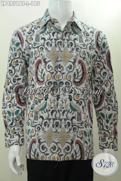 Pakaian Hem Klasik Istimewa Proses Kombinasi Tulis, Baju Batik Formal Lengan Panjang Untuk Cowok Size L Terlihat Lebih Berwibawa