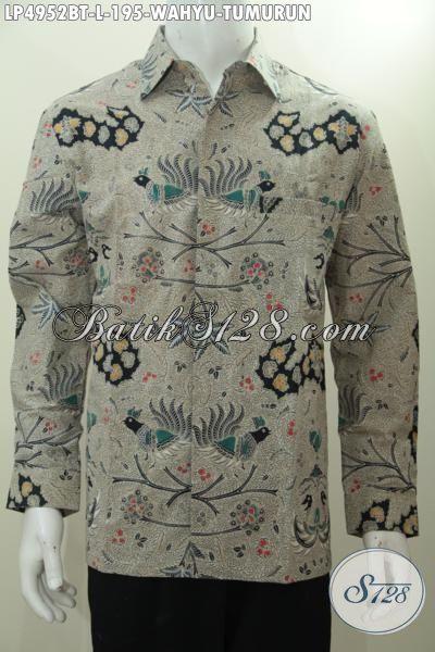Batik Hem Klasik Berkelas Model Lengan Panjang, Baju Batik Wahyu Tumurun Kombinasi Tulis Produk Berkwalitas Dari Solo Untuk Pria Tampil Mempesona, Size L