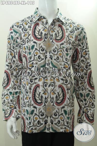 Hem Batik Klasik Lengan Panjang Buata Rapat, Seragam Kerja Batik Etnik Kombinasi Tulis, Baju Batik Size XL Buat Pria Dewasa Model Lengan Panjang Buat Ke Kantor