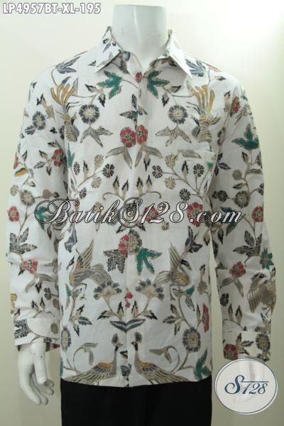 Baju Batik Kombinasi Tulis Buatan Solo Asli, Busana Kerja Pria Dewasa Ukuran XL Model Lengan Panjang, Cocok Buat Rapat