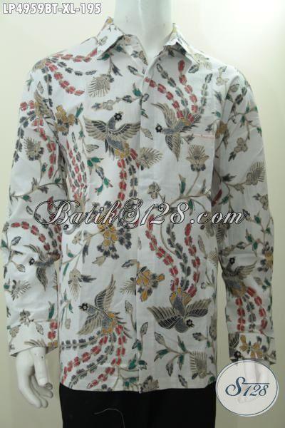 Kemeja Batik Modis Motif Terkini Yang Trendy Banget Membuat Lelaki Terlihat Menawan, Busana Lengan Panjang Batik Kombinasi Tulis Kwalitas Bahan Halus Dan Adem  [LP4959BT-XL]