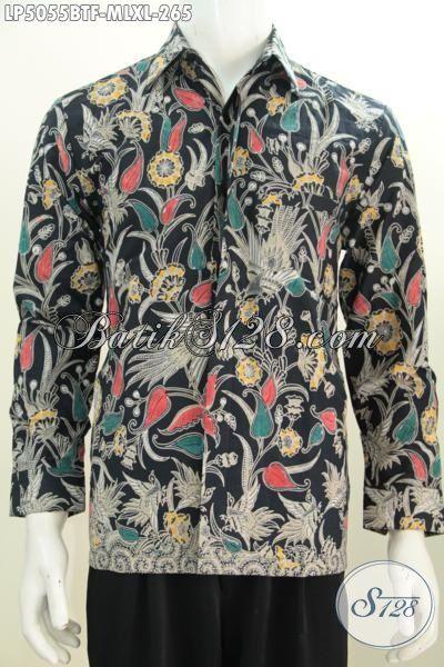 Produk Baju Hem Batik Motif Bunga Desain Formal Buat Kerja Dan Acara Santai, Busana Batik Kombinasi Tulis Lengan Panjang Full Furing  Bahan Halus Harga Terjangkau, Size M – L – XL