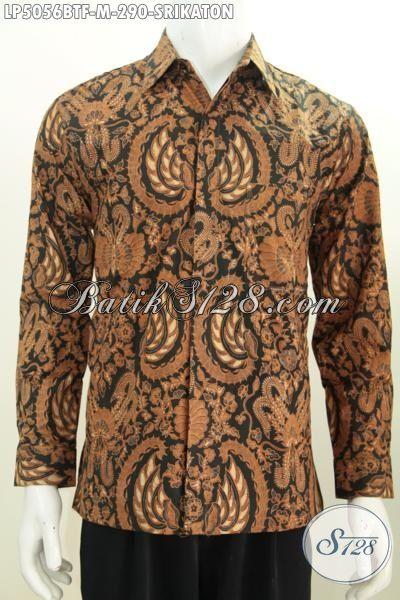Hem Batik Klasik Mewah Buatan Solo Motif Srikaton Proses Kombinasi Tulis, Baju Batik Elegan  Lengan Panjang Full Furing Tampil Makin Berwibawa, Size M