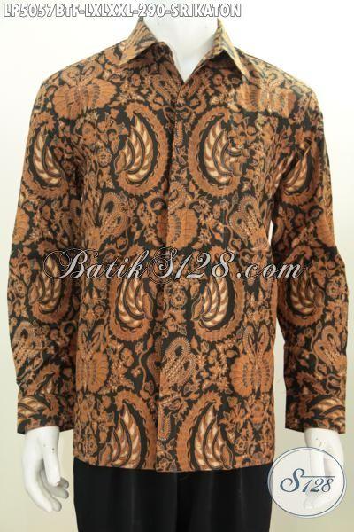 Hem Batik Formal Kwalitas Halus Desain Berkelas Motif Klasik Srikaton, Pakaian Batik Khas Jawa Tengah Berpadu Daleman Full Furing Membuat Cowok Terlihat Gagah, Size L – XL – XXL