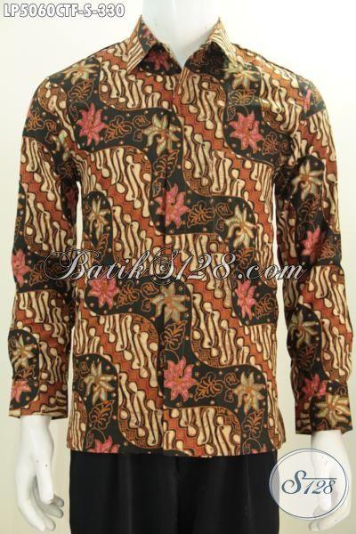 Baju Batik Kemeja Lengan Panjang Modern Klasik, Busana Batik Full Furing Motif Parang Bunga Proses Cap Tulis Tampil Makin Modis, Size S