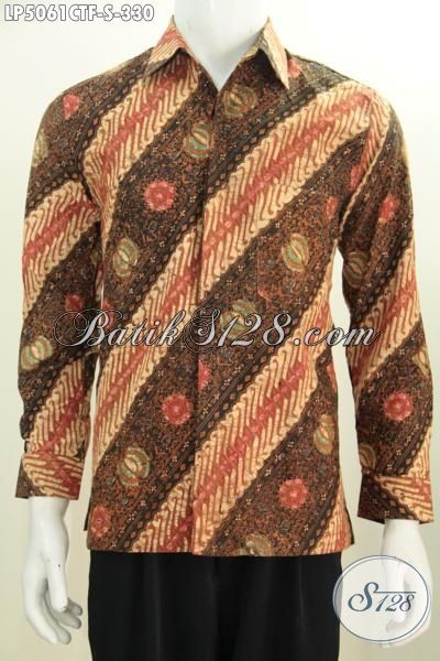 Hem Batik Klasik Anak Muda Model Lengan Panjang Full Furing, Produk Baju Batik Parang Bunga Cocok Buat Kondangan, Kwalitas Bagus Proses Cap Tulis [LP5061CTF-S]