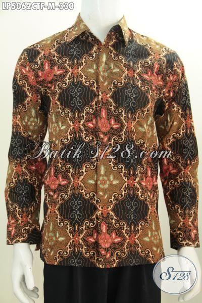 Kemeja Batik Modern Desain Motif Terbaru Lebih Mewah Dan Berkelas Proses Cap Tulis, Baju Lengan Panjangh Pake Furing Ukuran Medium Buat Pria Muda [LP5062CTF-M]