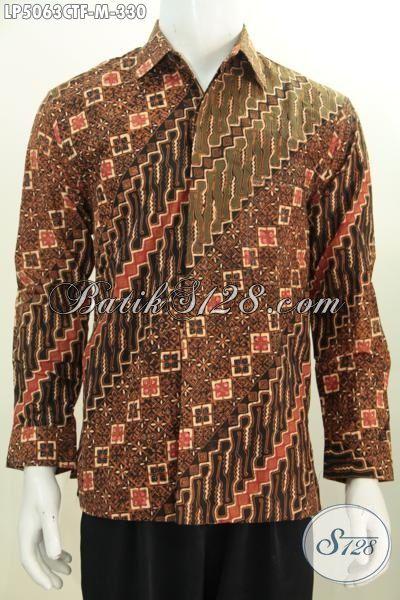 Baju Kemeja Lengan Panjang Pake Furing Motif Klasik Proses Cap Tulis, Busana Batik Kwalitas Premium Ukuran M Cocok Buat Pria Muda Terlihat Lebih Matang Berkarakter