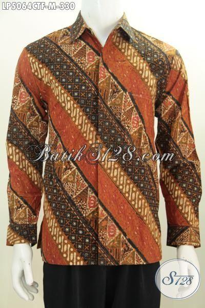 Hem Kemeja Batik Jawa Terbaru Buatan Solo Buat Lelaki Muda Karir Aktif, Pakaian Batik Lengan Panjang Pake Furing Untuk Tampil Terlihat Berwibawa [LP5064CTF-M]
