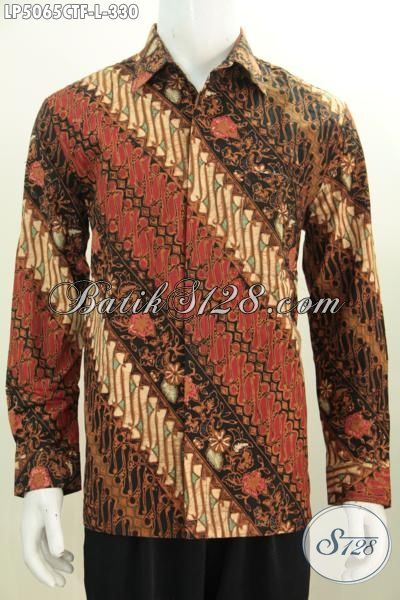 Hem Batik Istimewa Klasik Model Lengan Panjang, Busana Batik Jawa Tengah Full Furing Motif Parang Bunga Tampil Lebih Gagah Dan Tampan, Size L