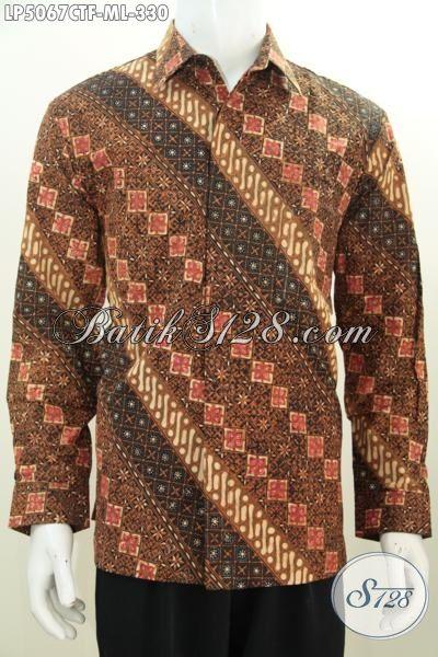 Distro Pakaian Batik Terlengkap Di Solo, Jual Online Pakaian Hem Batik Lengan Panjang Pake Furing Motif Klasik Proses Cap Tulis Buat Acara Formal [LP5067CTF-L]